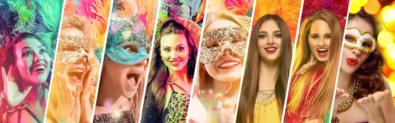 Beautiful young women in carnival mask. Beautiful surprised women in carnival mask. Models wearing masquerade masks at party on background with magic glow royalty free stock image