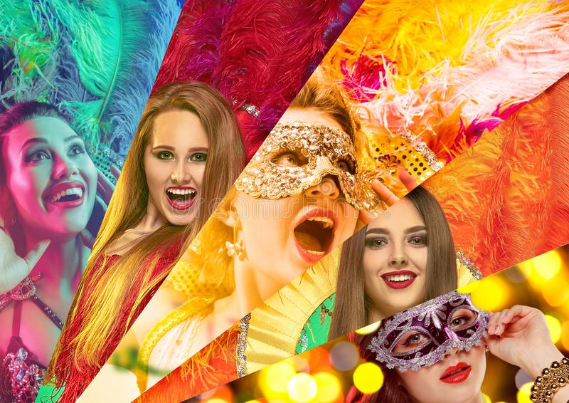 Beautiful young women in carnival mask. Beautiful surprised women in carnival mask. Models wearing masquerade masks at party on background with magic glow stock photography