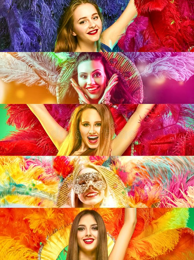 Beautiful young women in carnival mask. Beautiful surprised women in carnival mask. Models wearing masquerade masks at party on background with magic glow stock images