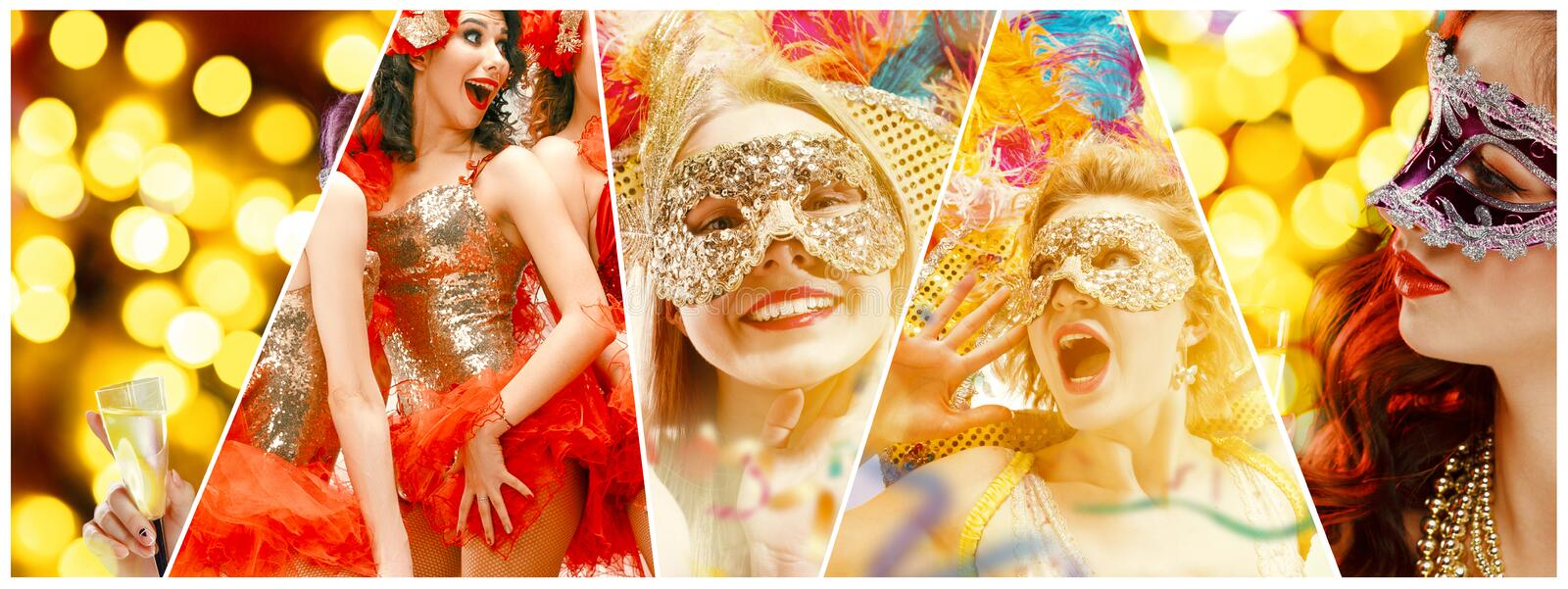 Beautiful young women in carnival mask. Beautiful surprised women in carnival mask. Models wearing masquerade masks at party on background with magic glow royalty free stock photo