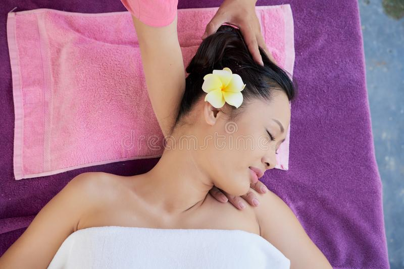 Relaxing spa procedure stock photo