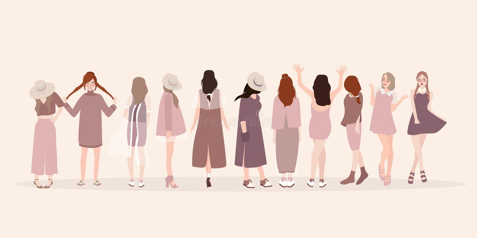 Beautiful young women in fashion clothing. Fashion women. Isolated fashion lady pose clothing show vector illustration