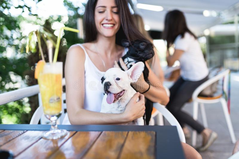 Young woman with her dog in cafe bar royalty free stock photography