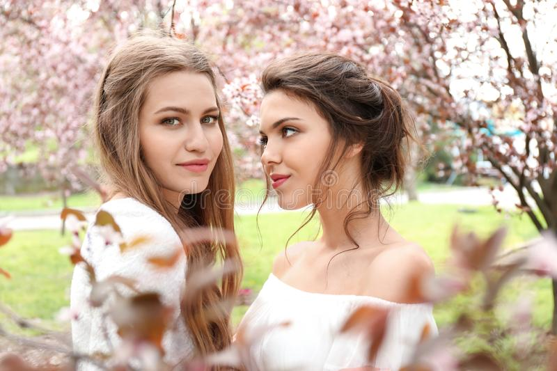 Beautiful young women in park with blooming trees on spring day royalty free stock photos