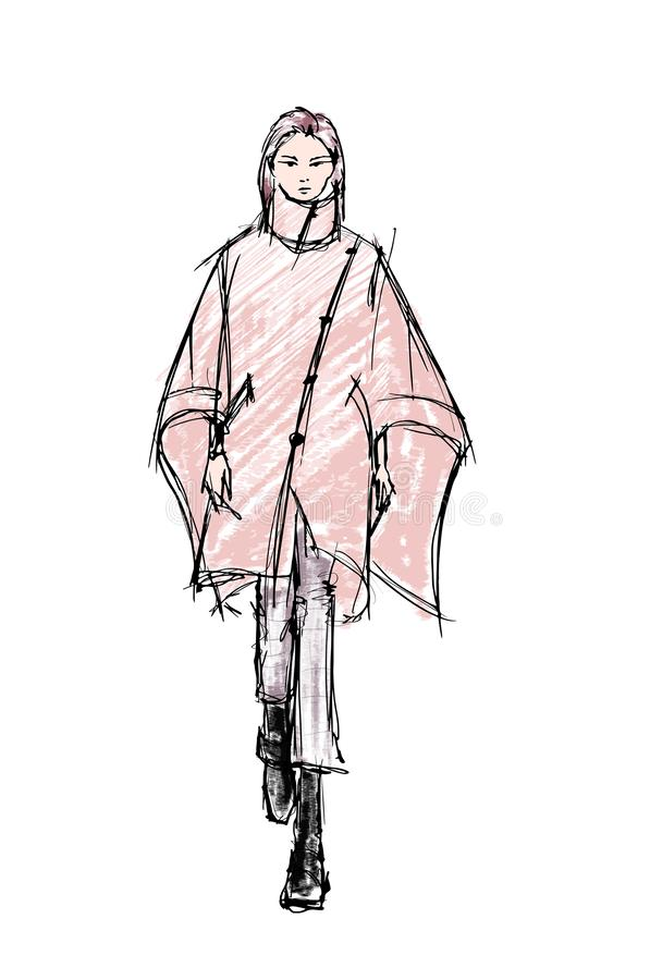 Beautiful young women in a pink coat. Hand drawn stylish woman portrait. Fashion lady. Winter outfit. Sketch. Fashion model posing vector illustration