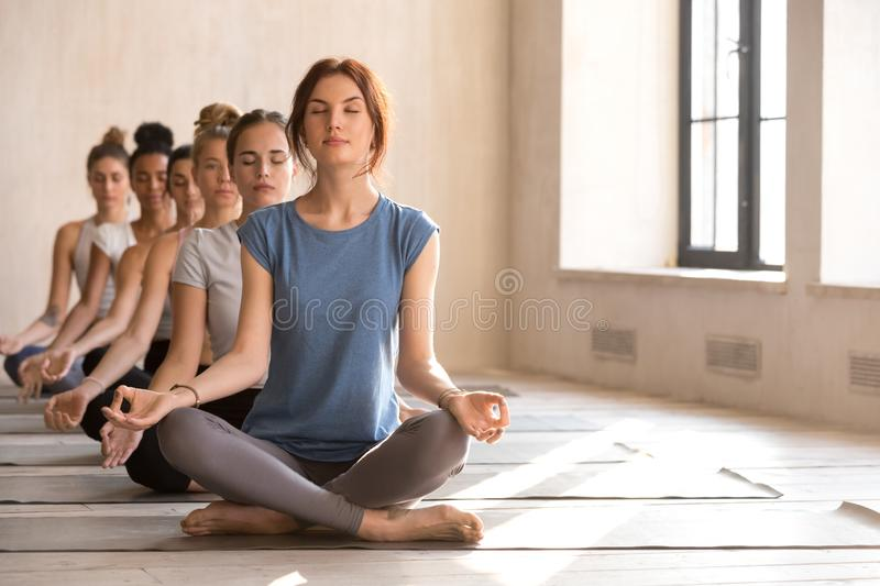 Beautiful young women practising yoga together during session stock photo