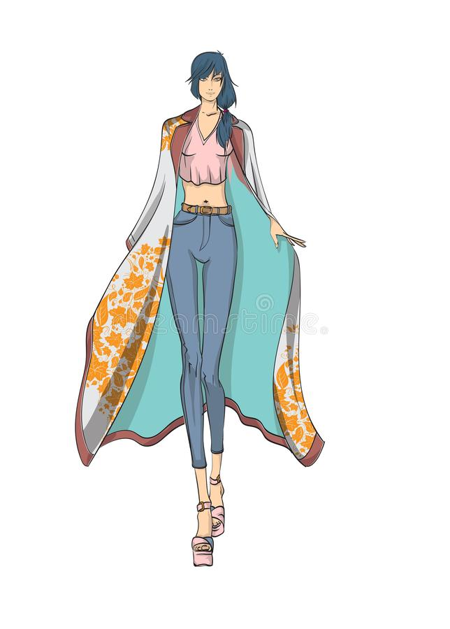 Beautiful young women in a raincoat with a print of autumn leaves. Hand drawn fashion girl. Model posing. Sketch. vector illustration