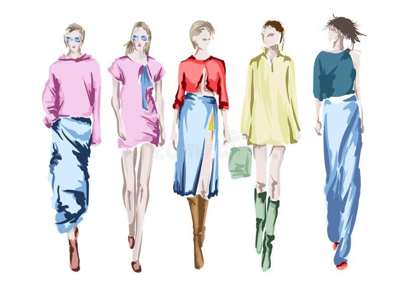 Beautiful young womens. Hand drawn fashion girls. Fashion model posing. Sketch. royalty free illustration