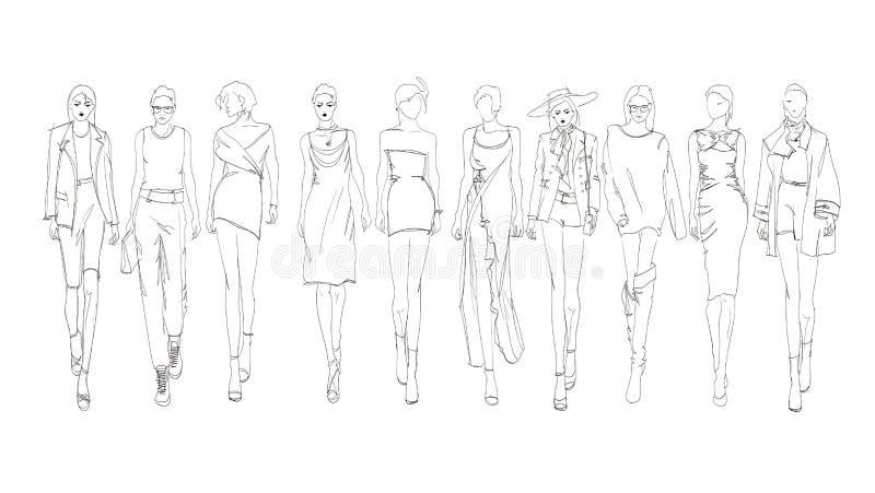 Beautiful young womens. Hand drawn fashion girls. Fashion model posing. Sketch. Vector set stock illustration