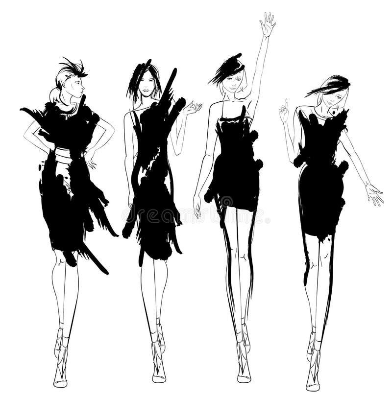 Beautiful young womens. Hand drawn fashion girls. Fashion model posing. Sketch. Vector set royalty free illustration