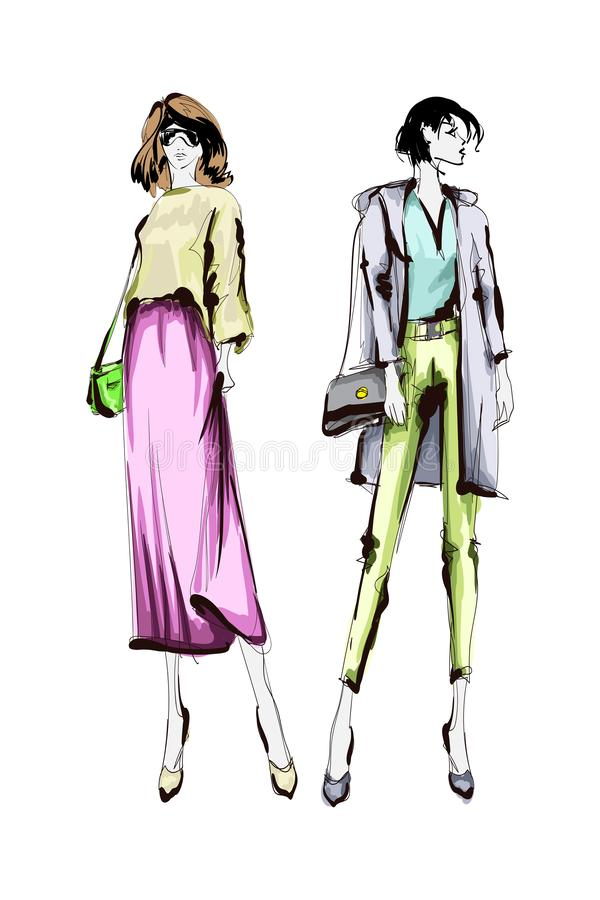 Beautiful young womens. Hand drawn fashion girls. Fashion model posing. Sketch. Vector set vector illustration