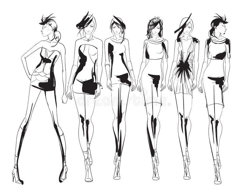 Beautiful young womens. Hand drawn fashion girls. Fashion model posing. Sketch. Illustration set stock illustration