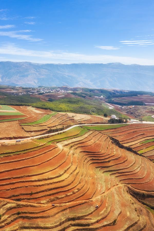 Beautiful yunnan red land scenery stock photo