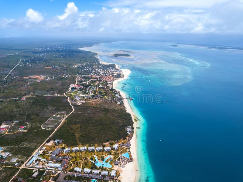 Beautiful Zanzibar Nungwi beach. Aerial view stock photos
