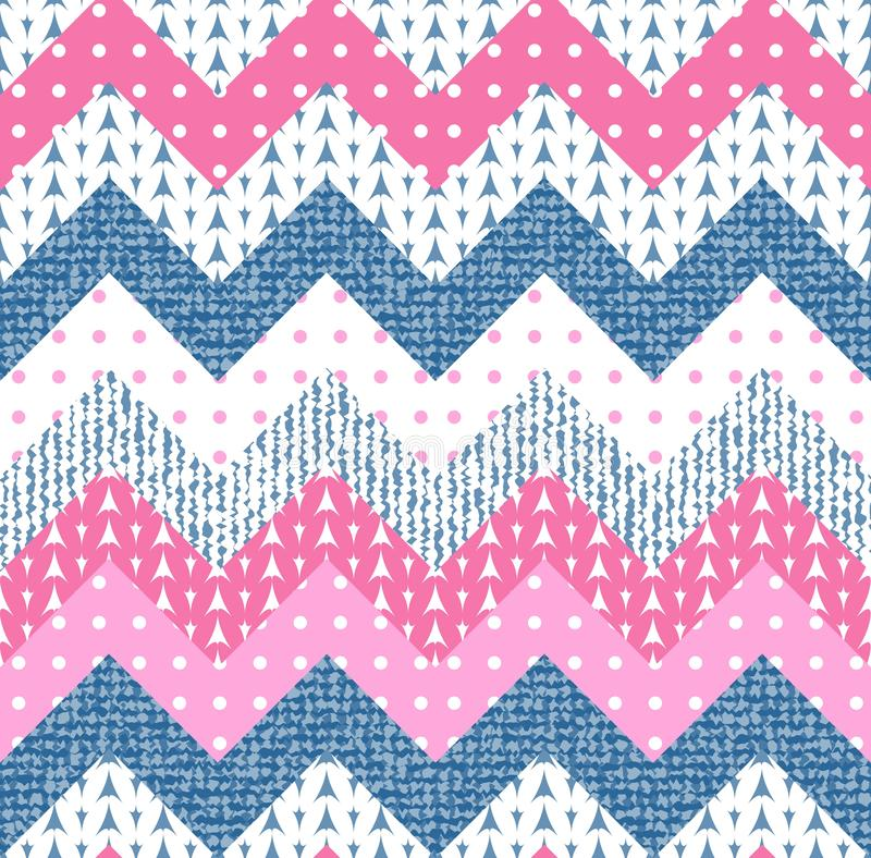 Beautiful zigzag patchwork from polka dot, knitted and jeans patches. Seamless chevron pattern royalty free illustration