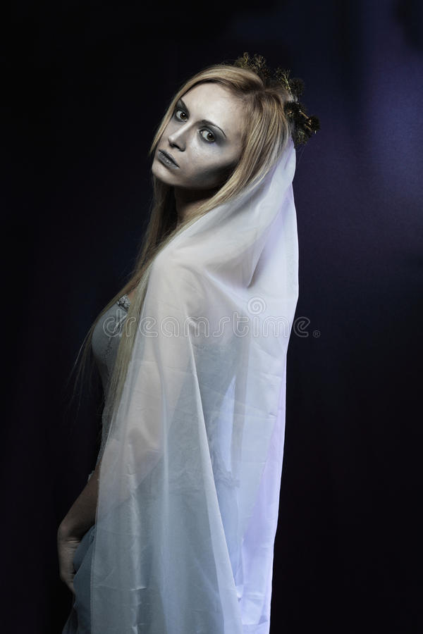 Beautiful zombie corpse bride royalty free stock images