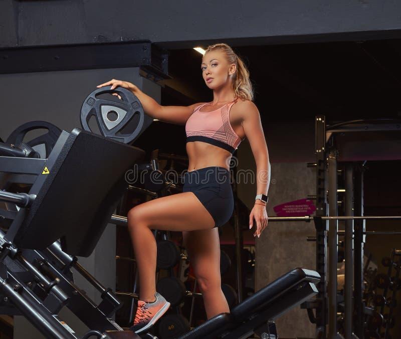 Beautifull摆在腿附近的运动服的健身妇女按在健身房的机器 库存照片
