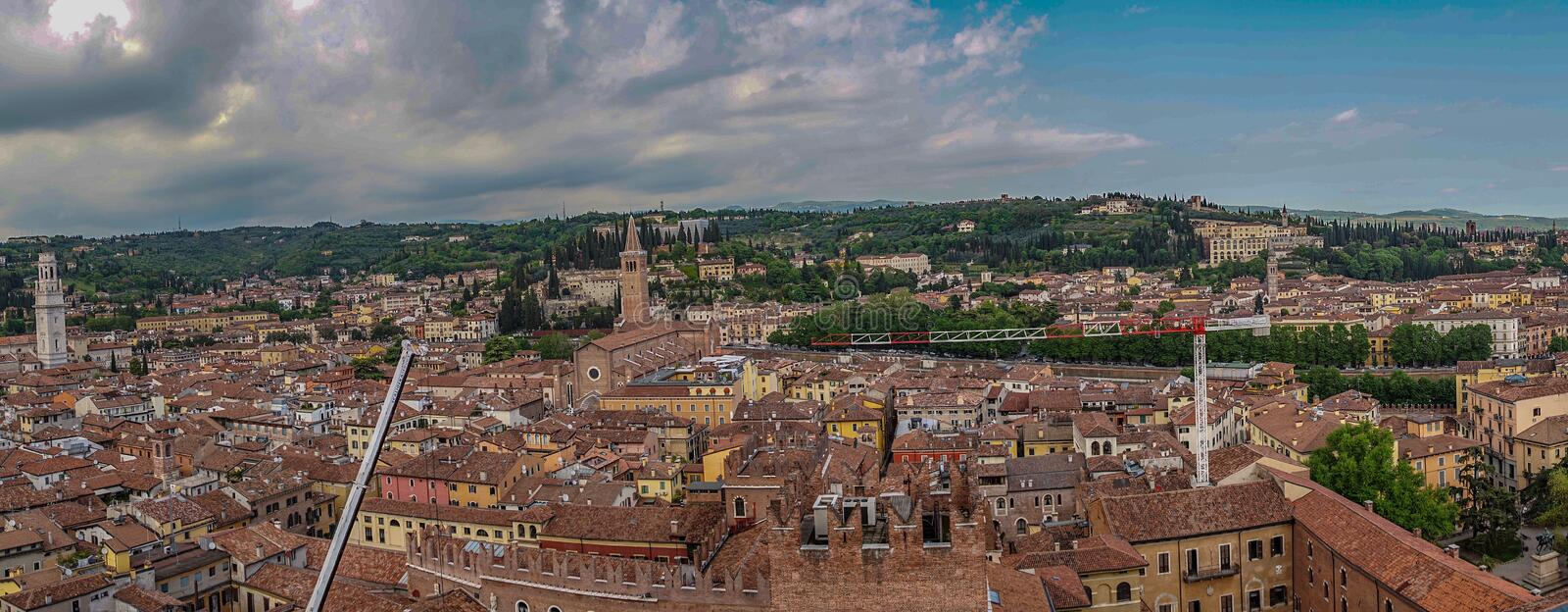 Beautifull aerial view of city Verona with red roofs, Italy stock photo