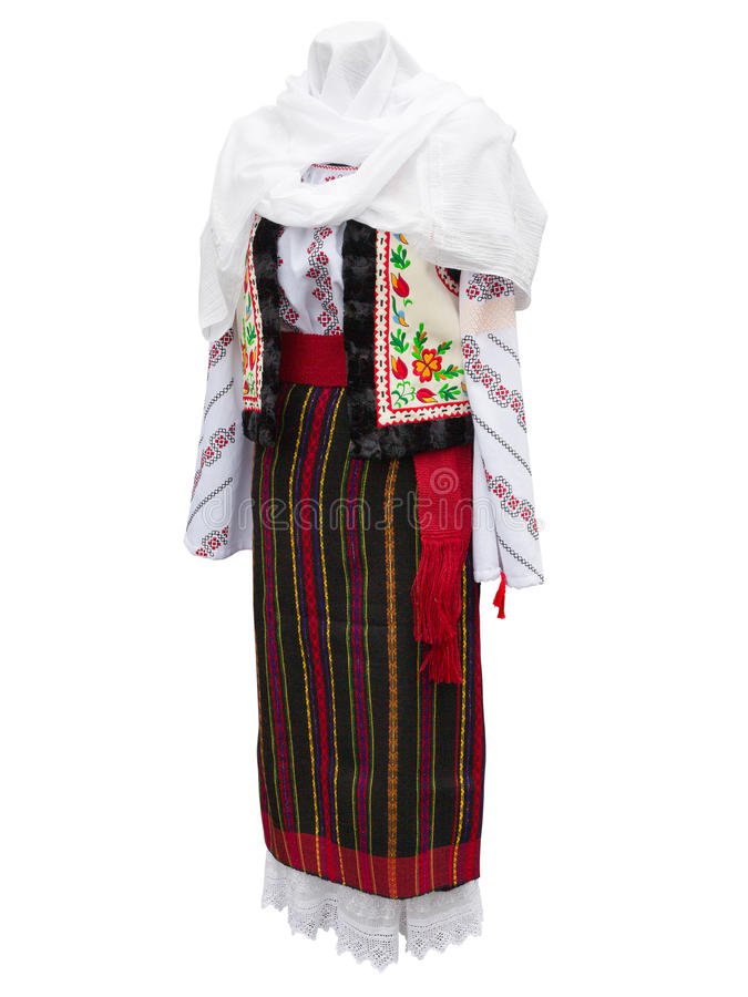 Beautifull balkanic national costume clothes isolated over white. Background stock photography
