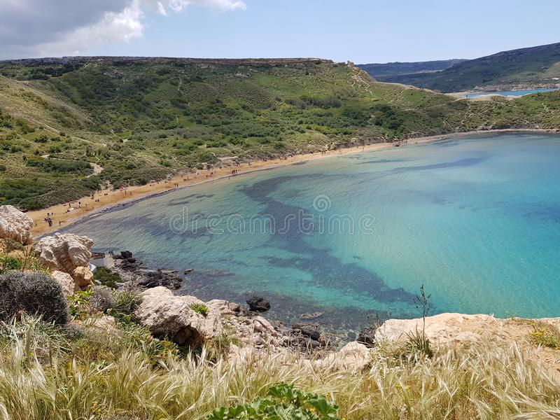 Beautifull blue bay in Malta. Holiday, summer, sunny, water, sea, travel, tourism, europe stock photography