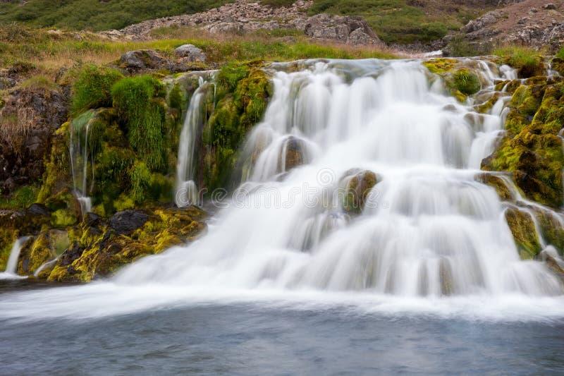 Beautifull cascade waterfall, part of Dynjandi waterfall, long exposure, Iceland stock image