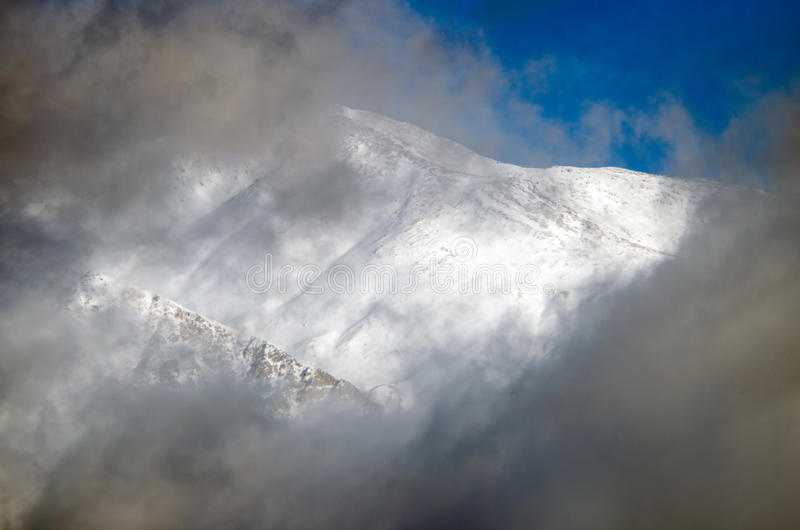 Beautifull cloudy sunrise in the mountains with snow ridge. Trek around Annapurna mount. Himalaya, Nepal. stock photos