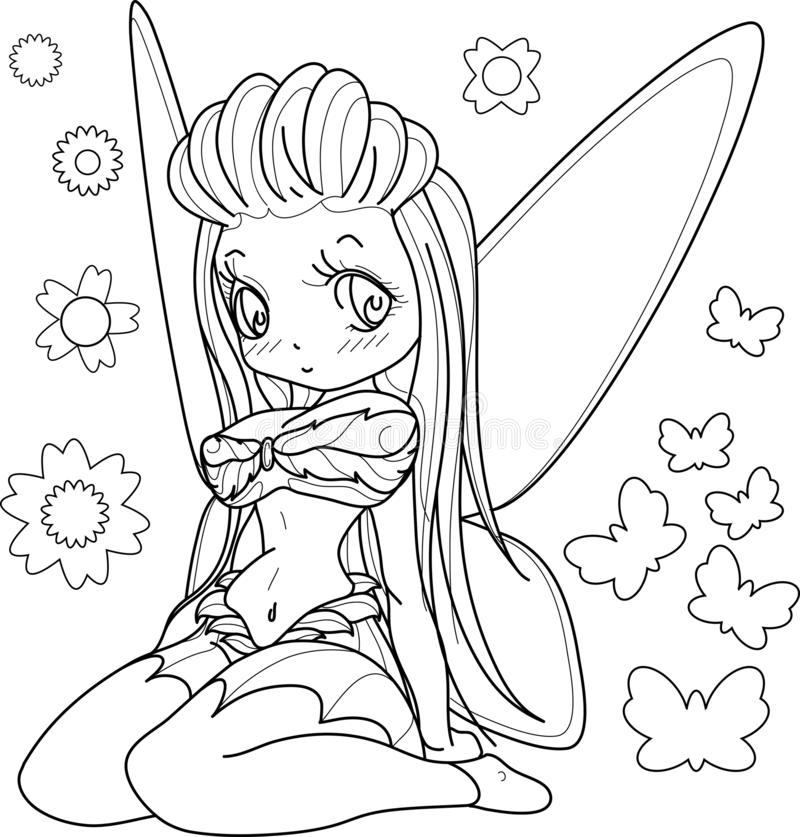 Beautifull fairy girl met vleugels, afgebeeld op witte achtergrond voor een volwassen kleurboek, vectorillustratie vector illustratie