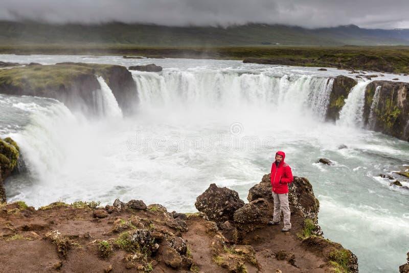 Beautifull Godafoss瀑布在冰岛 图库摄影