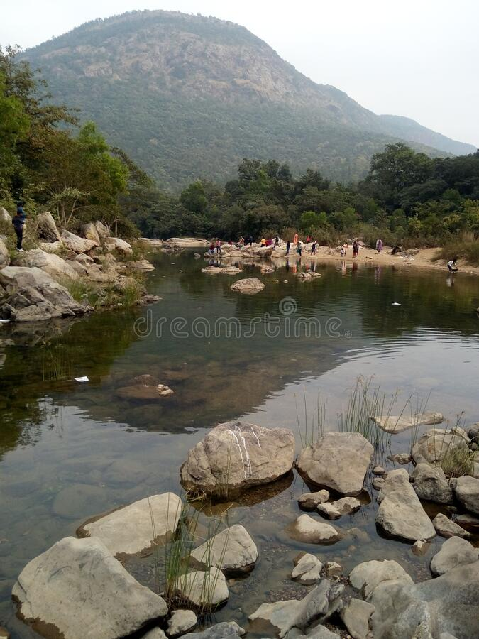 Beautifull Hill with tiny River. Indian Beautifull Hill with tiny River a picnic place for winter seasion royalty free stock photos