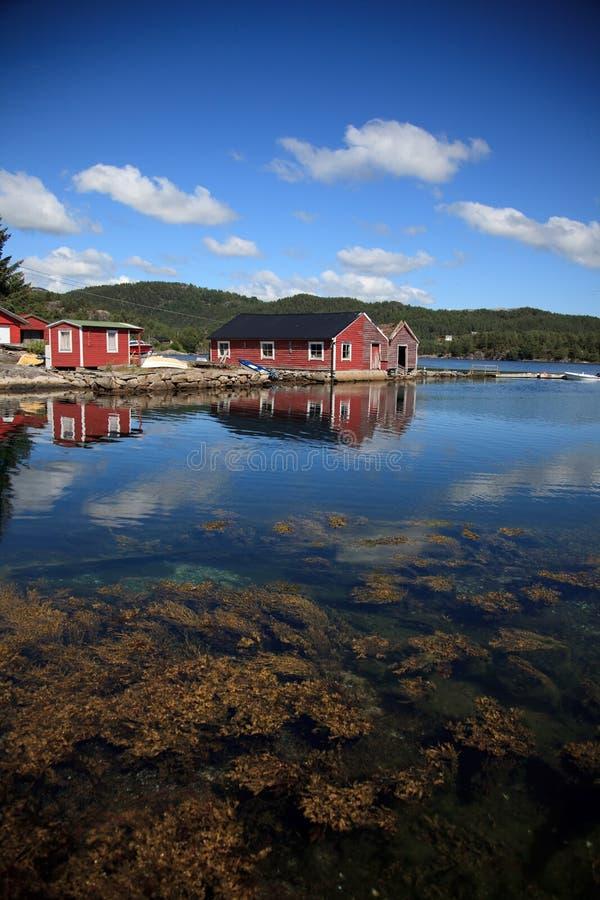 Beautifull Norvegia, baia con le barche e subacqueo fotografia stock