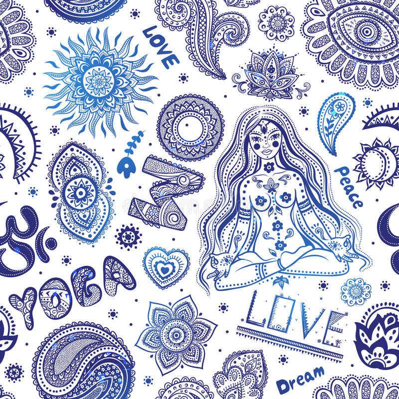 Beautifull seamless yoga pattern with ornaments. Beautifull Yoga seamless with ornaments and signs for your business royalty free illustration