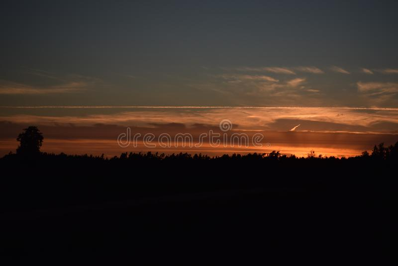 Beautifull sunset moment above the tree tops stock photo