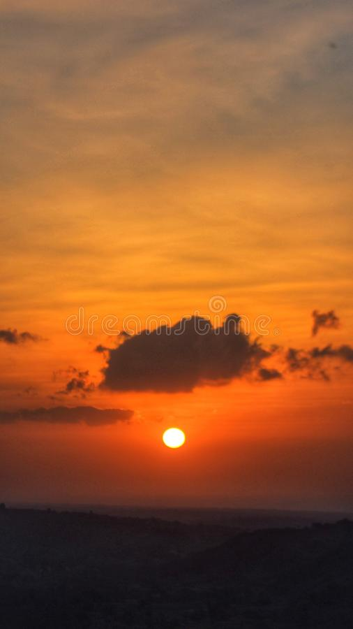 Beautifull Sunset w Pamekasan Indonezja obraz royalty free
