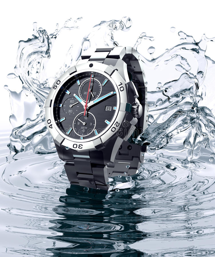 Beautifull watch standing on water. Beautifull watch raising out of water royalty free stock images