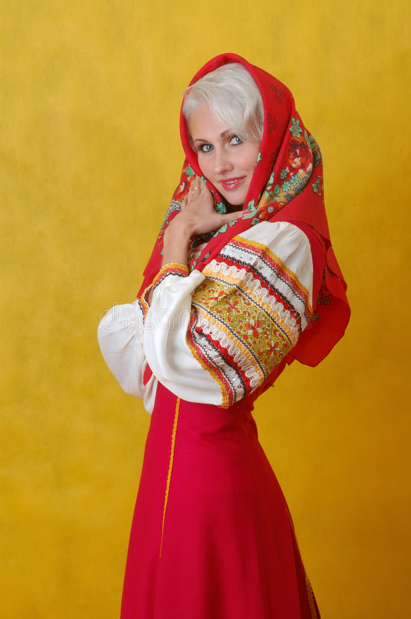 Download A Beautifull Woman In A Folk Russian Dress Stock Photo - Image of people, looks: 4738628