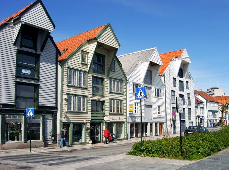 Beautifully återställda historiska lager i Stavanger, Norge royaltyfria foton