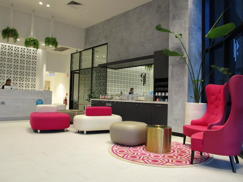 Beautifully appointed waiting room and reception located in Surfers Paradise, Qld, Australia stock image