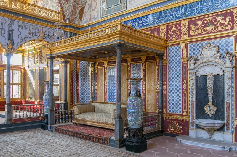 Beautifully audience hall and imperial throne room in the Harem of Topkapi Palace in Istanbul, Turkey.  royalty free stock image