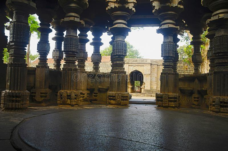 Beautifully carved pillars, Kopeshwar Temple, Khidrapur, Maharashtra. Beautifully carved pillars, Kopeshwar Temple, Khidrapur Maharashtra India stock photography