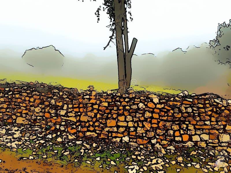 Rocky Tiny wall with smoke & tree royalty free stock photography