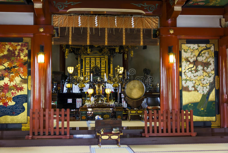 Beautifully decorated altar at a buddhist temple in Ueno Park stock photography
