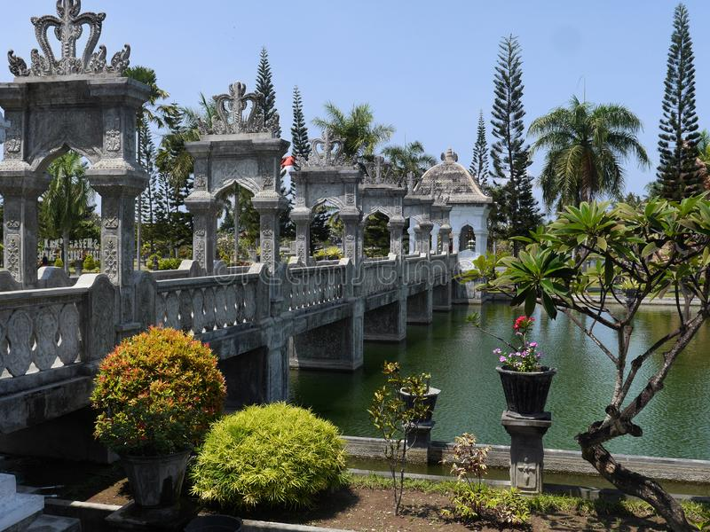 Beautifully decorated bridge at Ujung water temple Bali Indonesia stock photography