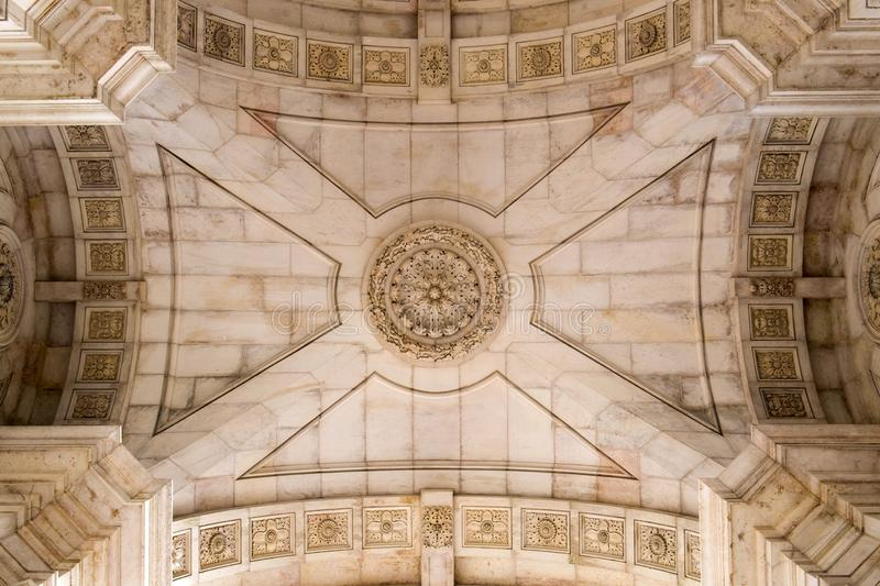 Beautifully decorated ceiling of the Triumphal Arch in the Commerce square Praca do Comercio in Lisbon, Portugal. stock photography