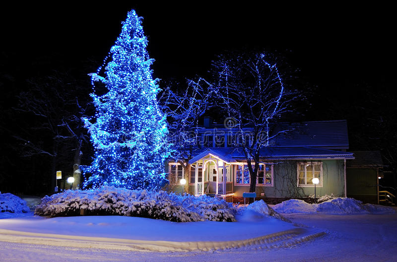 Beautifully decorated Christmas tree. Marvelous Christmas tree in blue lights stock images