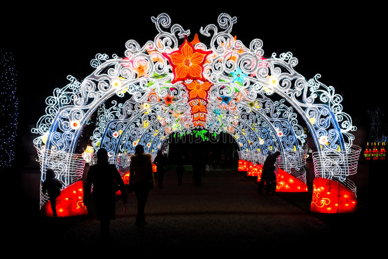 Beautifully decorated gates at Magical Lantern Festival. London, United Kingdom - February 07, 2016: Magical Lantern Festival at Chiswick House And Gardens stock images