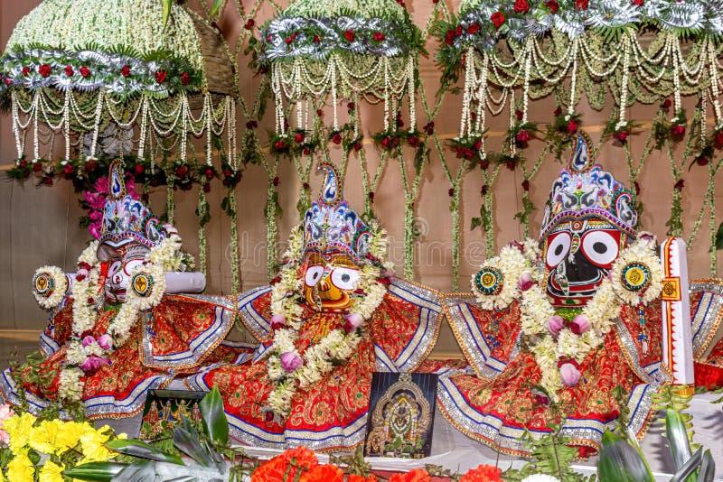 Beautifully decorated Hindu God Jagannath, Balaram and Goddess Subhadra idol during the Rath Yatra Festival. Beautifully decorated Hindu God Jagannath, Balaram royalty free stock images