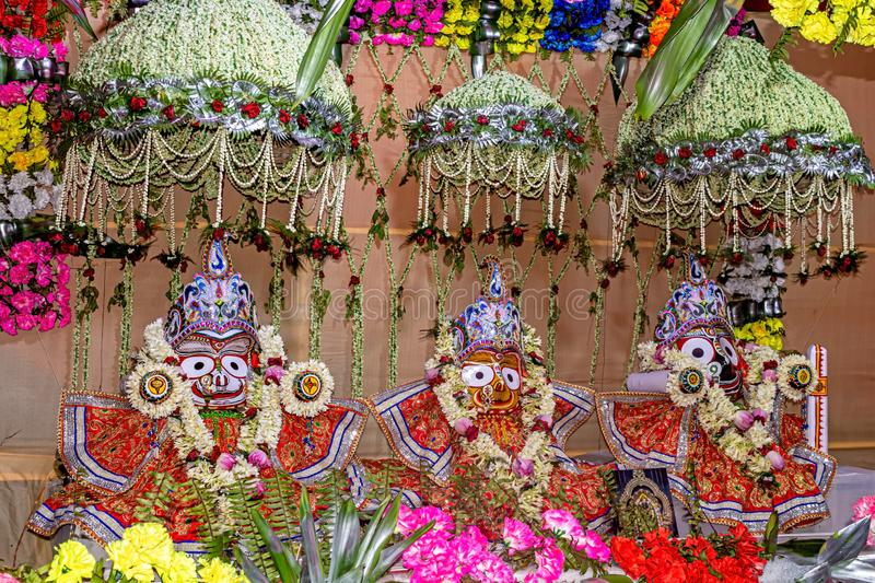 Beautifully decorated Hindu God Jagannath, Balaram and Goddess Subhadra idol during the Rath Yatra Festival. It is the oldest festival in India and the world stock photo