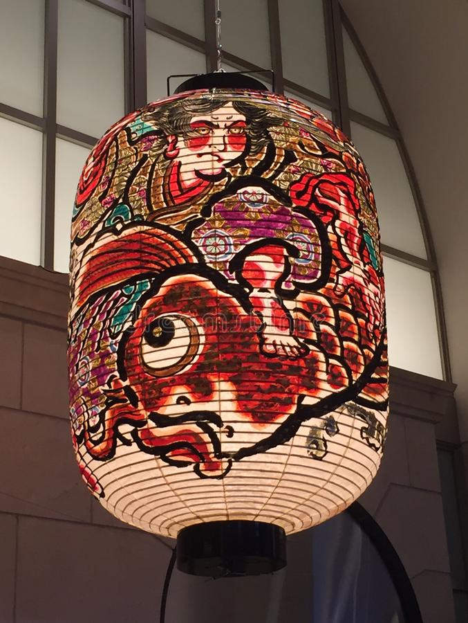 Beautifully decorated Japanese paper lantern of Kyoto royalty free stock photo