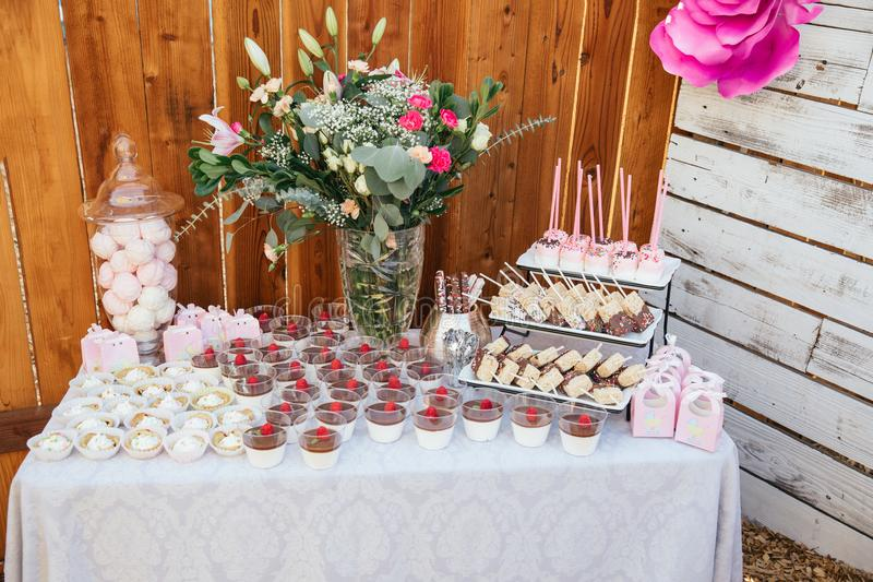 Outdoor Candy bar for for celebration. Party time stock images