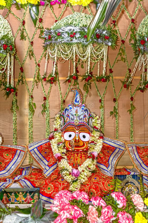 Beautifully decorated Subhadra goddess idol during the Rath Yatra Festival. Close up view of Beautifully decorated Subhadra goddess idol during the Rath Yatra stock photography